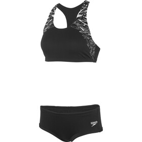 speedo Boom Placement Two-Pieces Swimsuit Damen black/white